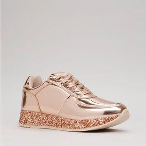 Glitter Bae Chrome Platform Sneakers